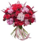 Bouquet Peonie e rose rosse