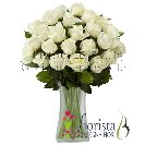 Bouquet of white roses long-stemmed